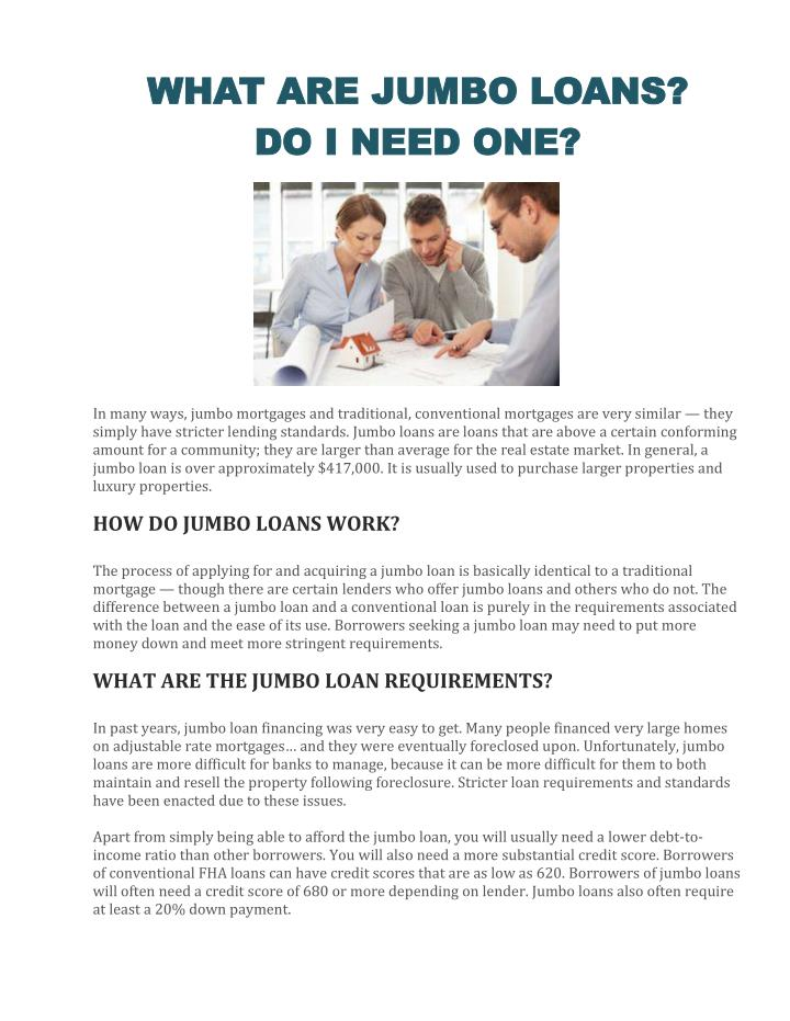 WHAT ARE JUMBO LOANS