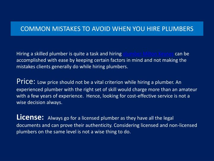 Common mistakes to avoid when you hire plumbers
