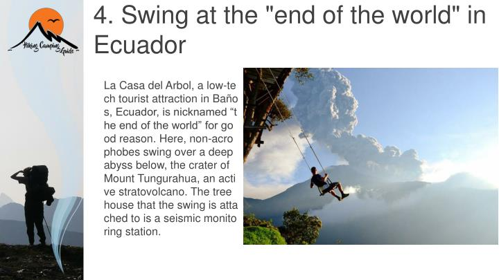 "4. Swing at the ""end of the world"" in Ecuador"