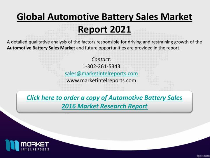 Global Automotive Battery Sales Market Report 2021