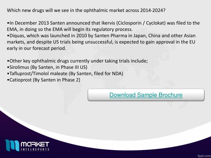 Which new drugs will we see in the ophthalmic market across 2014-2024?