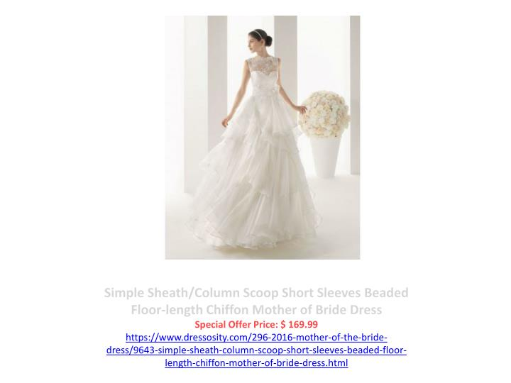 Simple Sheath/Column Scoop Short Sleeves Beaded Floor-length Chiffon Mother of Bride Dress