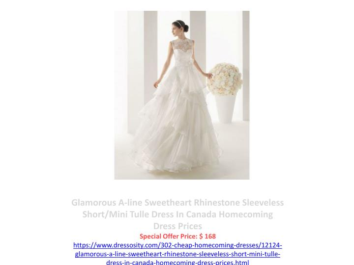 Glamorous A-line Sweetheart Rhinestone Sleeveless Short/Mini Tulle Dress In Canada Homecoming Dress Prices