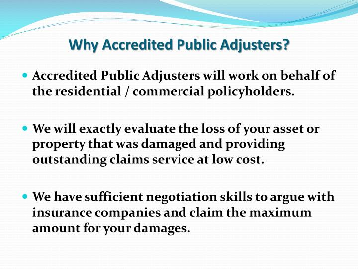 Why Accredited Public Adjusters?