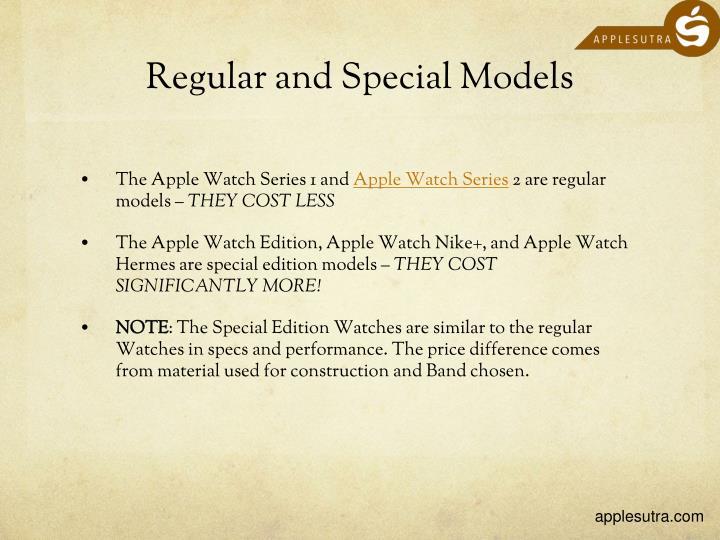 Regular and Special Models