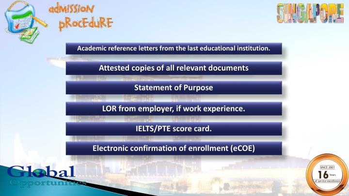 Academic reference letters from the last educational institution.