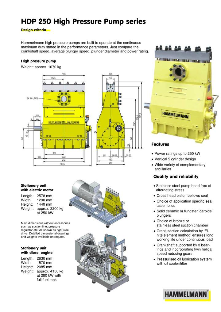 HDP 250 High Pressure Pump series