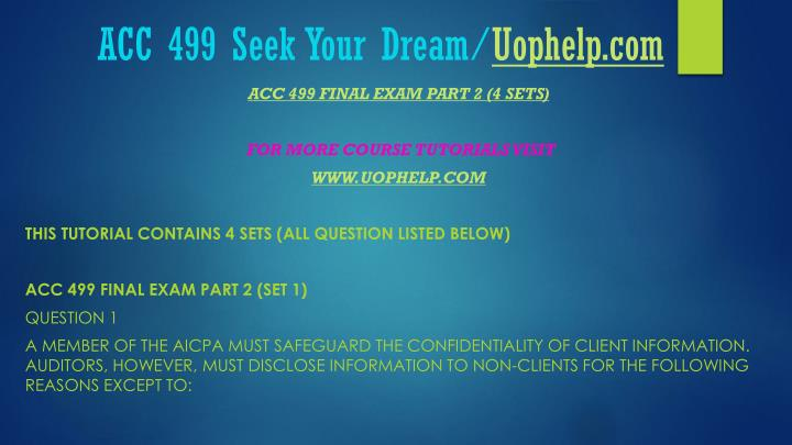 Acc 499 seek your dream uophelp com2