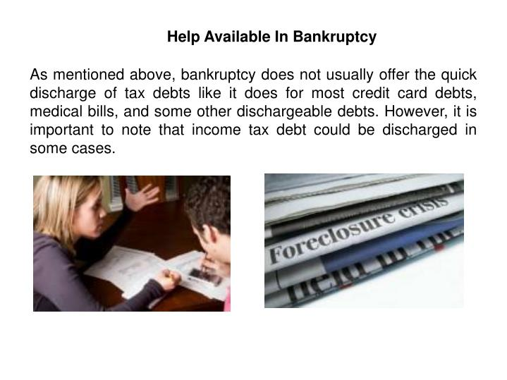 Help Available In Bankruptcy