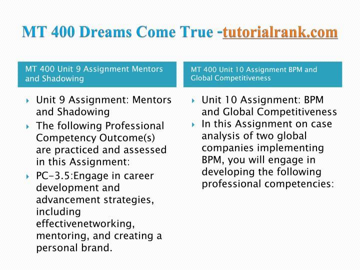MT 400 Dreams Come True