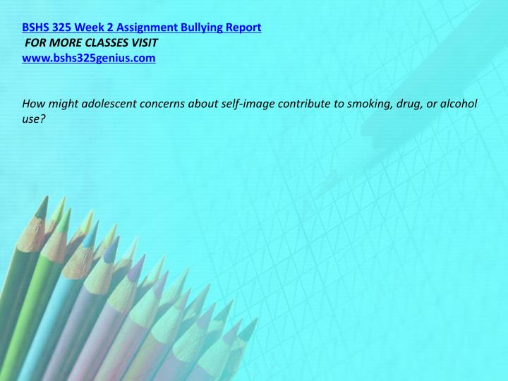 BSHS 325 Week 2 Assignment Bullying Report