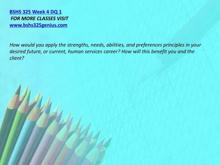 BSHS 325 Week 4 DQ 1