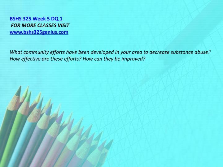 BSHS 325 Week 5 DQ 1