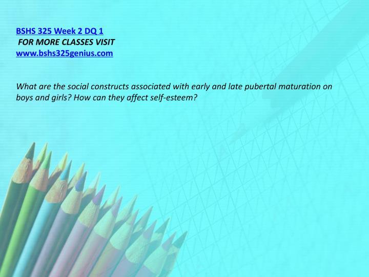 BSHS 325 Week 2 DQ 1