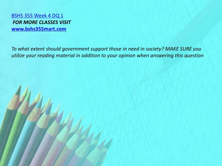 BSHS 355 Week 4 DQ 1