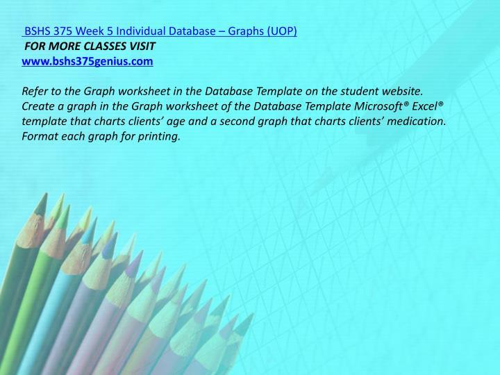 BSHS 375 Week 5 Individual Database – Graphs (UOP)