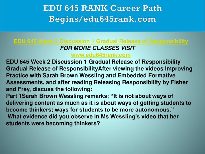 EDU 645 RANK Career Path Begins/edu645rank.com