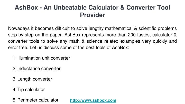 Ashbox an unbeatable calculator converter tool provider1