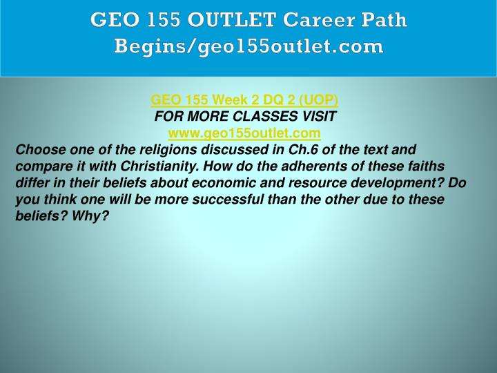 GEO 155 OUTLET Career Path Begins/geo155outlet.com