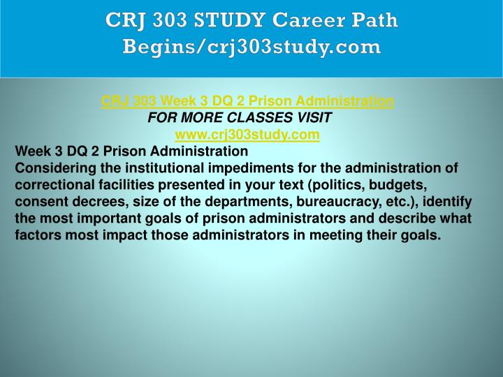 CRJ 303 STUDY Career Path Begins/crj303study.com