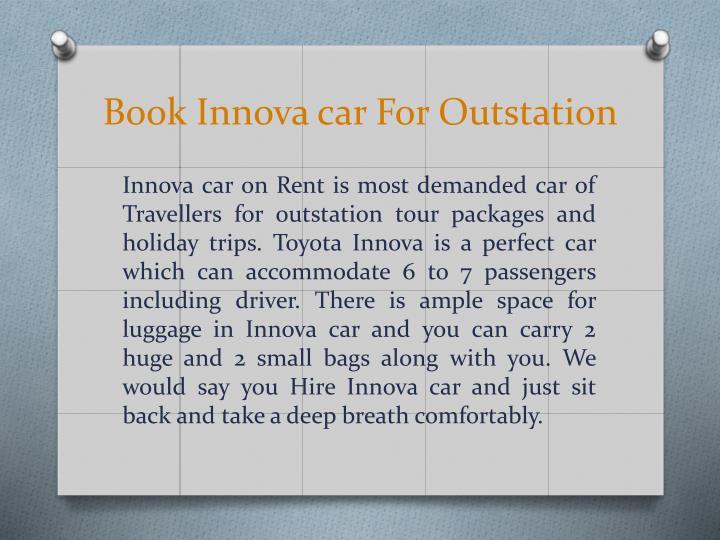Book Innova car For Outstation
