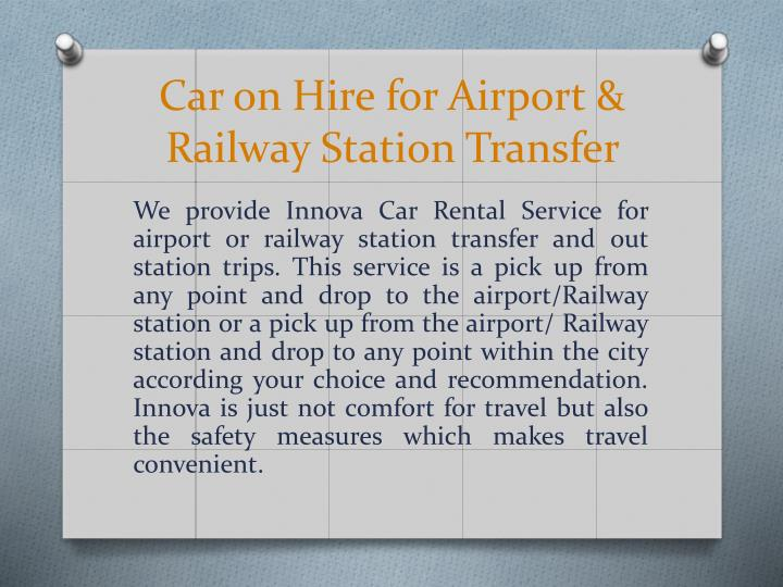 Car on Hire for Airport & Railway Station Transfer