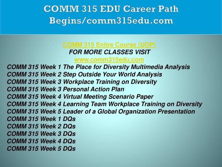 COMM 315 EDU Career Path Begins/comm315edu.com