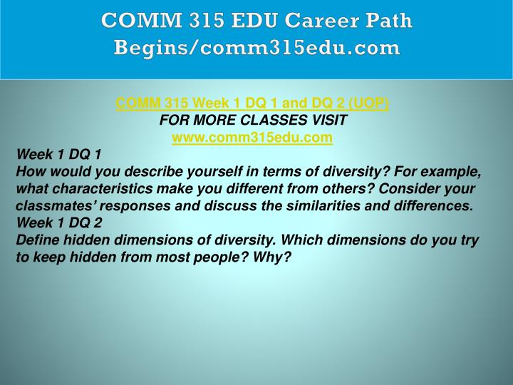 COMM 315 EDU Career Path Begins/comm315edu.com