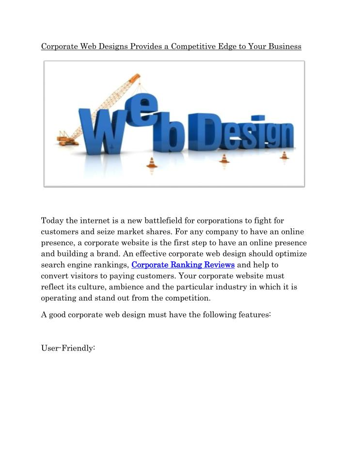 Corporate Web Designs Provides a Competitive Edge to Your Business