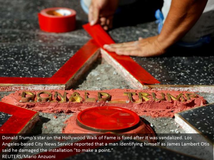 """Donald Trump's star on the Hollywood Walk of Fame is settled after it was vandalized. Los Angeles-based City News Service reported that a man recognizing himself as James Lambert Otis said he harmed the establishment """"to make a point.""""  REUTERS/Mario Anzuoni"""