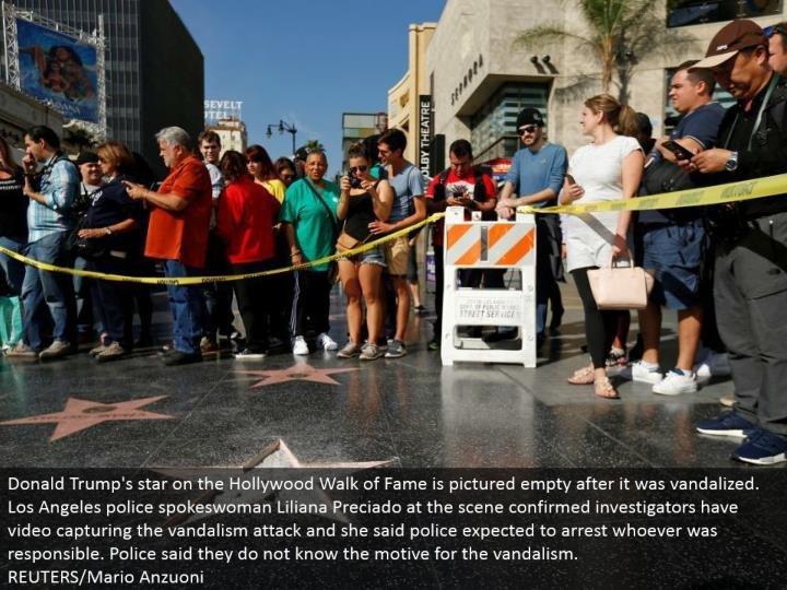 Donald Trump's star on the Hollywood Walk of Fame is imagined exhaust after it was vandalized. Los Angeles police representative Liliana Preciado at the scene affirmed agents have video catching the vandalism assault and she said police anticipated that would capture whoever was mindful. Police said they don't have a clue about the thought process in the vandalism.  REUTERS/Mario Anzuoni