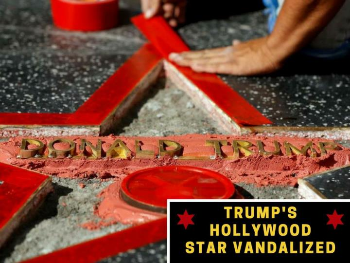 Trump s hollywood star vandalized