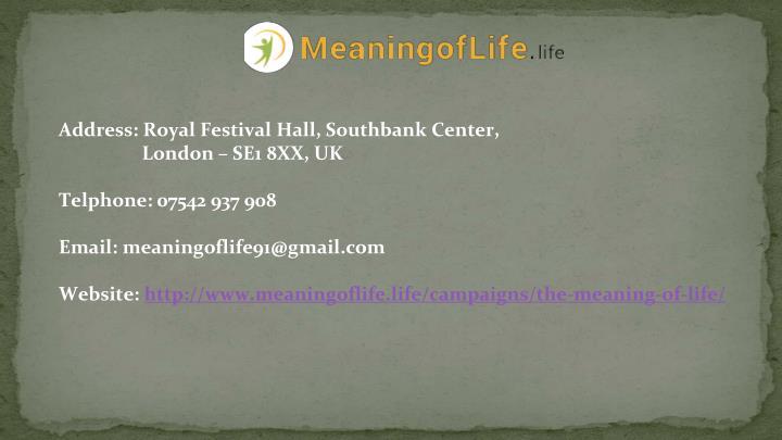 Address: Royal Festival Hall, Southbank Center,