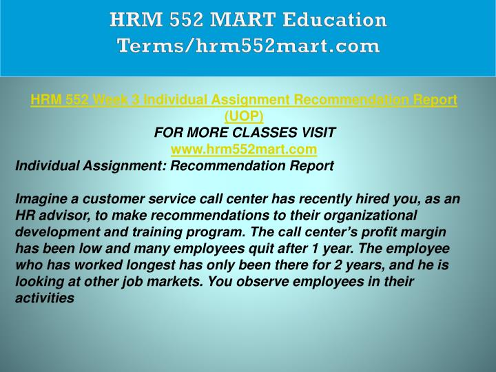 HRM 552 MART Education Terms/hrm552mart.com