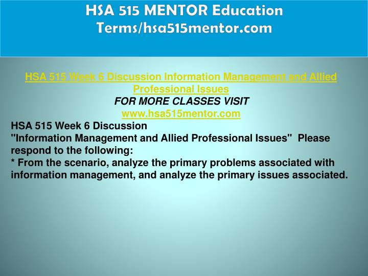 HSA 515 MENTOR Education Terms/hsa515mentor.com