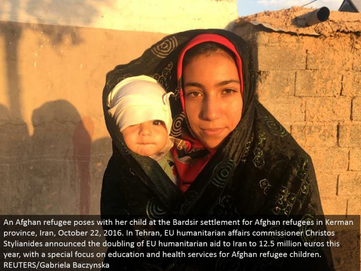 An Afghan outcast postures with her tyke at the Bardsir settlement for Afghan displaced people in Ke...