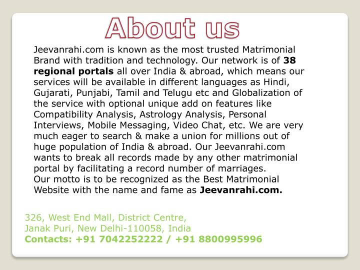 Jeevanrahi.com is known as the most trusted Matrimonial