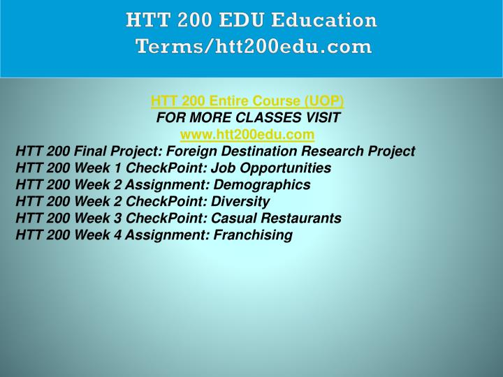 HTT 200 EDU Education