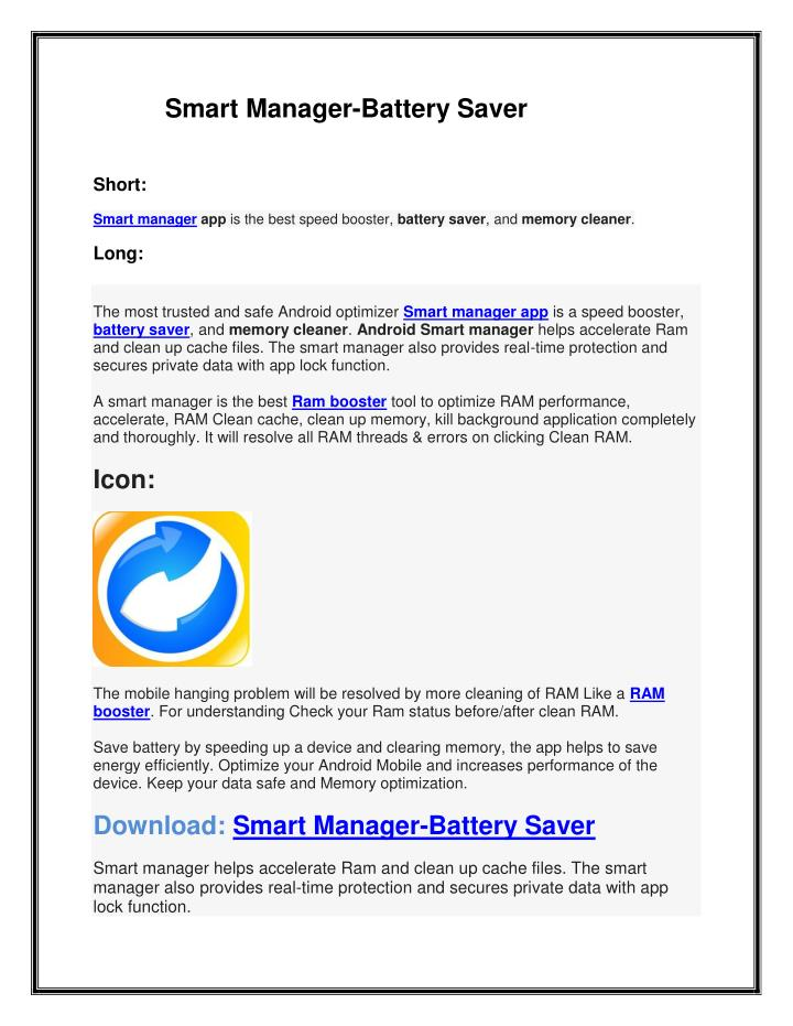 Smart Manager-Battery Saver