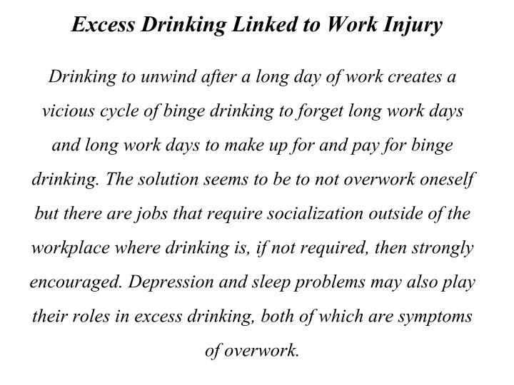 Excess Drinking Linked to Work Injury