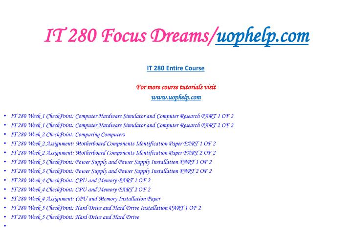 It 280 focus dreams uophelp com2
