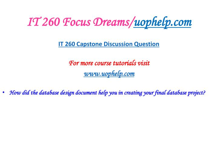 It 260 focus dreams uophelp com2