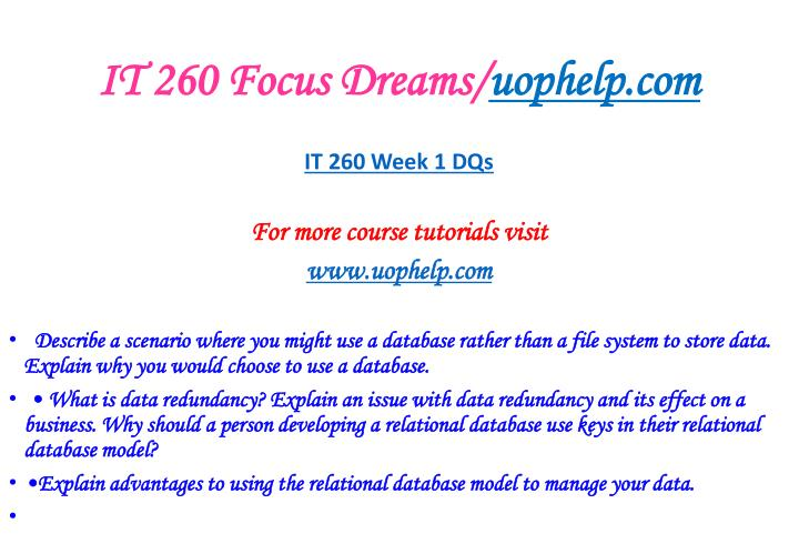 IT 260 Focus Dreams/