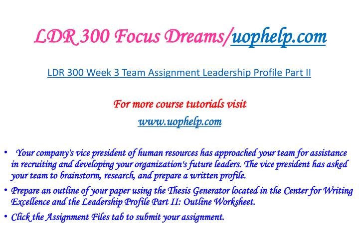 LDR 300 Focus Dreams/