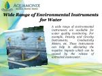 wide range of environmental instruments for water