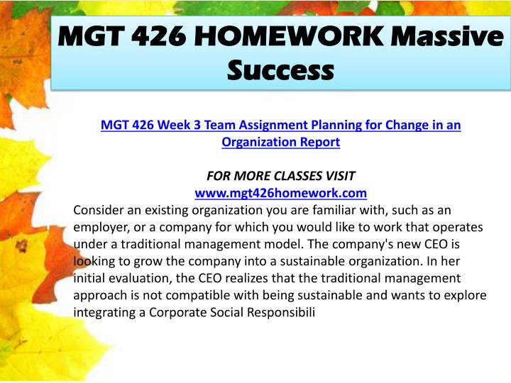 MGT 426 HOMEWORK Massive Success