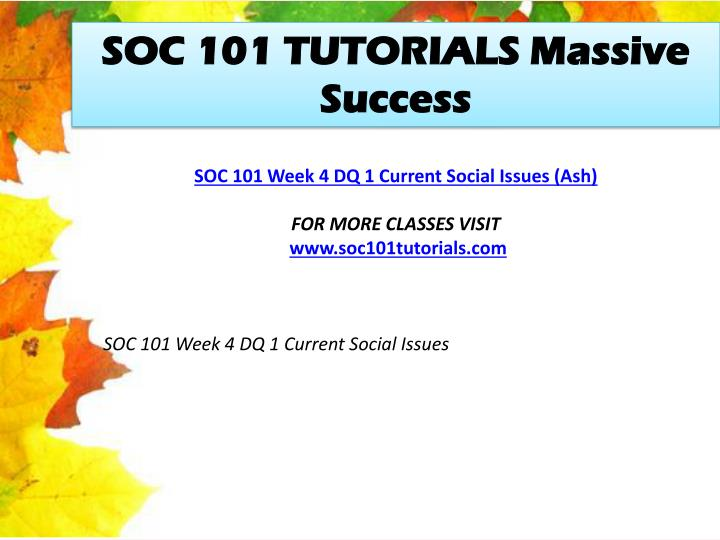 SOC 101 TUTORIALS Massive Success