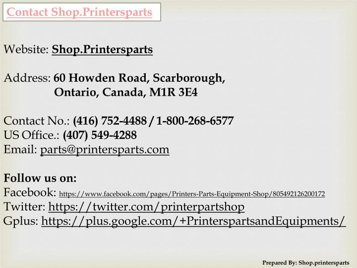 Contact Shop.Printersparts