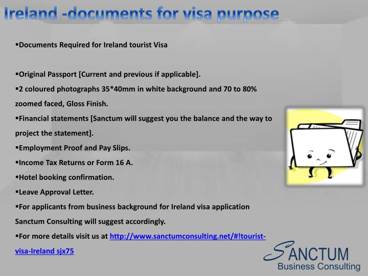 Ireland -documents for visa purpose