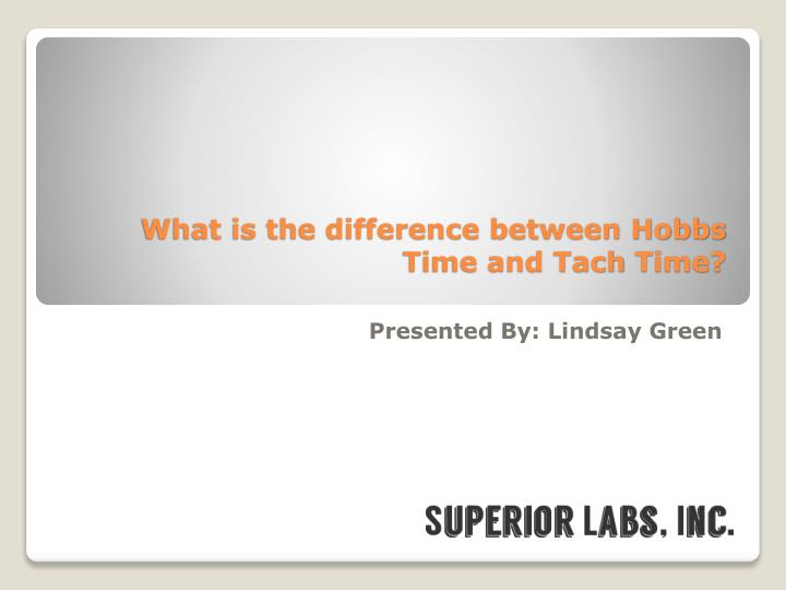 what is the difference between hobbs time and tach time